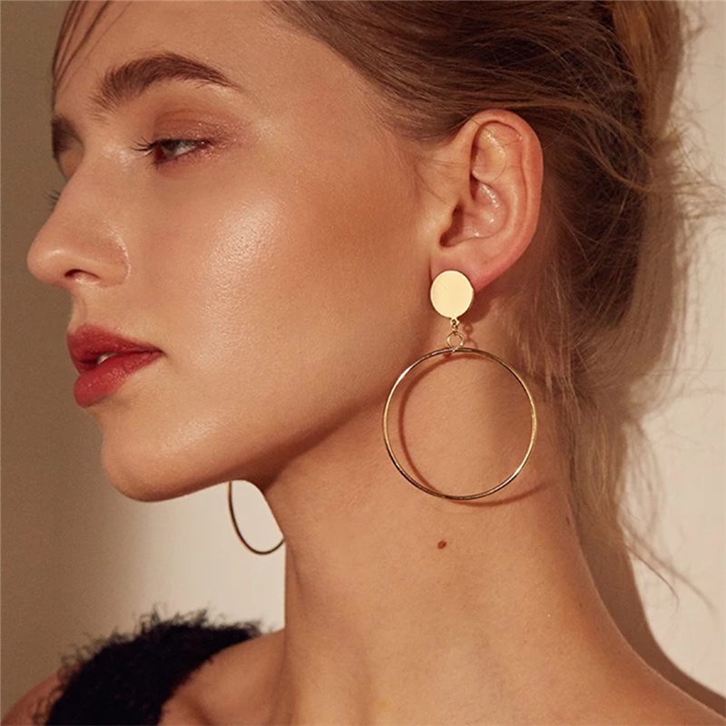 Simple Fashion Gold Color Silver Plated Geometric Big Round Clip Earrings For Women Fashion Big Hollow Ear Clip Jewelry