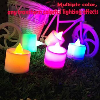 1 PC kreatywny świeca led lampa wielokolorowa sztuczny kolorowy płomień herbata światło domu ślub dekoracje urodzinowe Drop Shipping tanie i dobre opinie Kubek w kształcie Stron Świecznik świeca puchar Bezpłomieniowe Other Electronic Candle Light 4 2cm (Height) x 3 7cm (Diameter)