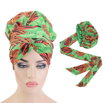 Women Double Layer Headwrap Ankara Hat Hijab Head Cover Large Hair Wrap Cap African Print Satin Bonnet With Long Ribbon Wrap