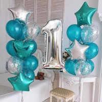 1set de 1er globos confeti de cumpleaños feliz, globos azules de papel de plata rosa con número, decoraciones para fiestas de bebés y niñas, suministros para mi 1 año