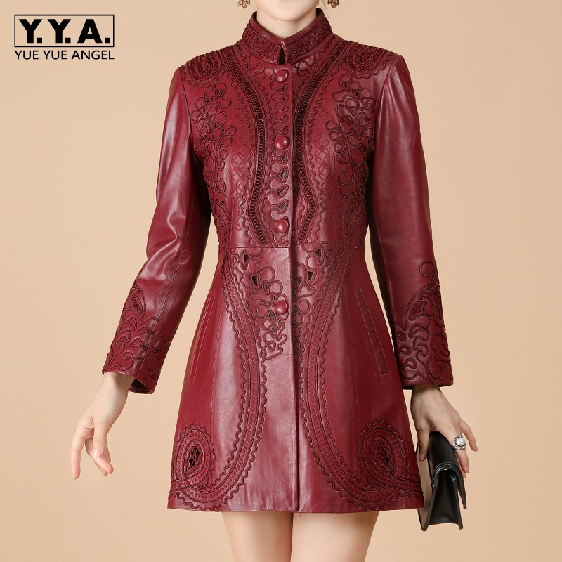 Autumn Genuine Leather Jacket Women Hollow Out Embroidery Slim Sheepskin Coat Office Lady Medium Long Windbreaker Plus Size 6XL