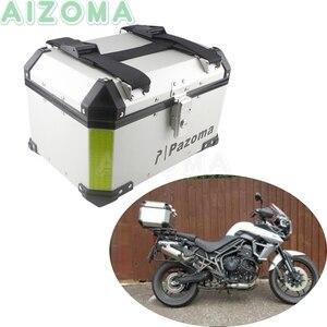 Bicicleta de rua motocicleta bloqueio topcase alumínio 45l carga bagagem cauda caixa caso para honda bmw triumph 800 1200 armazenamento traseiro caixa superior