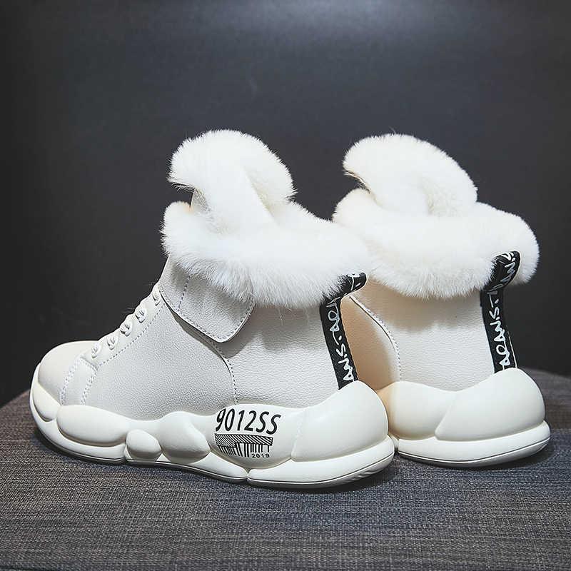 נשים חורף מגפי אופנה עור עמיד למים שלג מגפי פרווה חם טריז קרסול מגפי נשים מקרית סניקרס נעלי Botas Mujer
