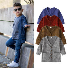 Cute Kid Baby Boy Girl Clothes 2020 Autumn Spring Long Sleeve Knit Sweater V-neck Cardigan Coat Tops Unisex Outwear Jacket 6M-3Y