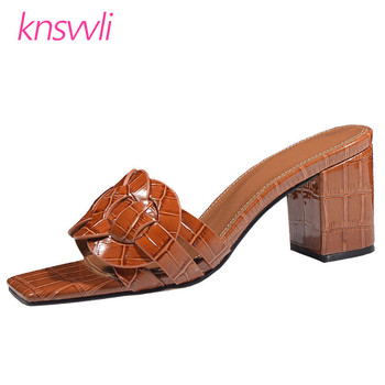 Chunky Heels Slippers Women Cross Braiding One Strap Summer Shoes Woman Stone Print Leather Mules High Heels Sandals Women