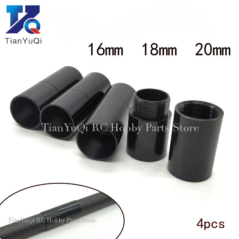 4pcs Aluminum Alloy Connector Carbon Pipe Connector For Pipe Growth Connection OD 16mm 18mm 20mm