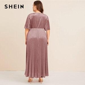 Image 4 - Shein 플러스 사이즈 플러터 슬리브 pleated 벨벳 드레스 여성 가을 겨울 v 넥 라인 제국 매력적인 파티 맥시 드레스