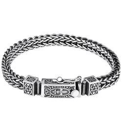Мужской винтажный браслет из чистого серебра 925 пробы ручной работы, оригинальный персонализированный браслет из тайского серебра S925
