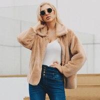 XMS Gift Faux Fur Coat Turndown Collar jacket winter coat women futroCasual Loose pelliccia Zipper manteau fourrure femme WQ149