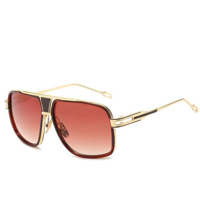 Gafas de sol clásicas de lujo para hombre, lentes de sol de marca a la moda, lentes de sol para dama, lentes de espejo Retro, diseño cuadrado Vintage 6