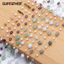 GUFEATHER C81,jewelry accessories,diy chain,18k gold plated,0.3 microns,natural stone,diy chain necklace,jewelry making,1m/lot