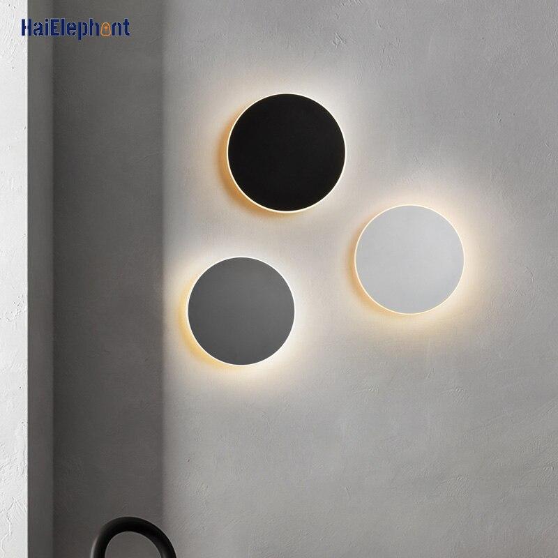 Круглый сенсорный выключатель светодиодный настенный светильник для коридора, спальни, прикроватные светильники для помещений