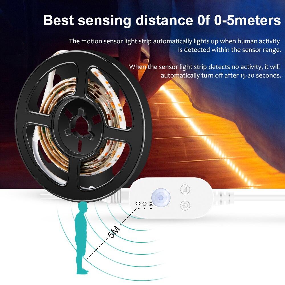 Hareket sensörü ışık şerit LED USB su geçirmez dolap altı ışığı bant DC 5V PIR LED lamba şerit LED TV arkaplan ışığı iç mekan aydınlatması