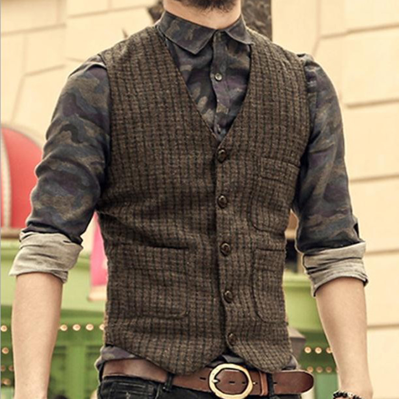 Mens Knitted Vests Suit Herringbone Tweed Waistcoat Lapel Groomsman Tops Sweater