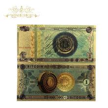 10 sztuk/partia gorąca sprzedaż kolorowe jeden Bitcoin banknotów BTC Bitcoin złoty banknotów w 24k pozłacane do kolekcji