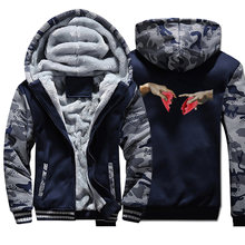 Michelangelo Hart Breken Vintage Print Mannen Hoodies 2019 Winter Casual Camo Hoodies Warme Fleece Fashion Rits Jassen(China)