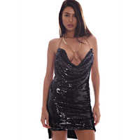 Summer Sequins Sexy Dress Backless Club Dress Women Spaghetti Strap Backless Sequined Night High Waist Mini Party Dress