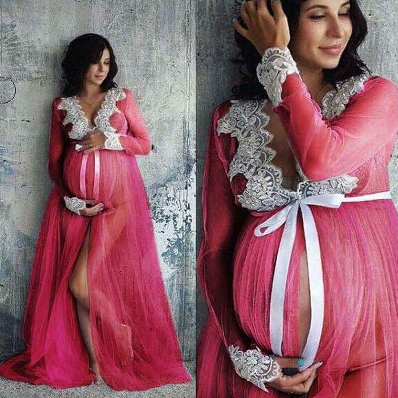 Vestidos de maternidad ahuecados de cuello en V de encaje de Goocheer para sesión de fotos ropa de mujer embarazada de longitud larga accesorios de fotografía