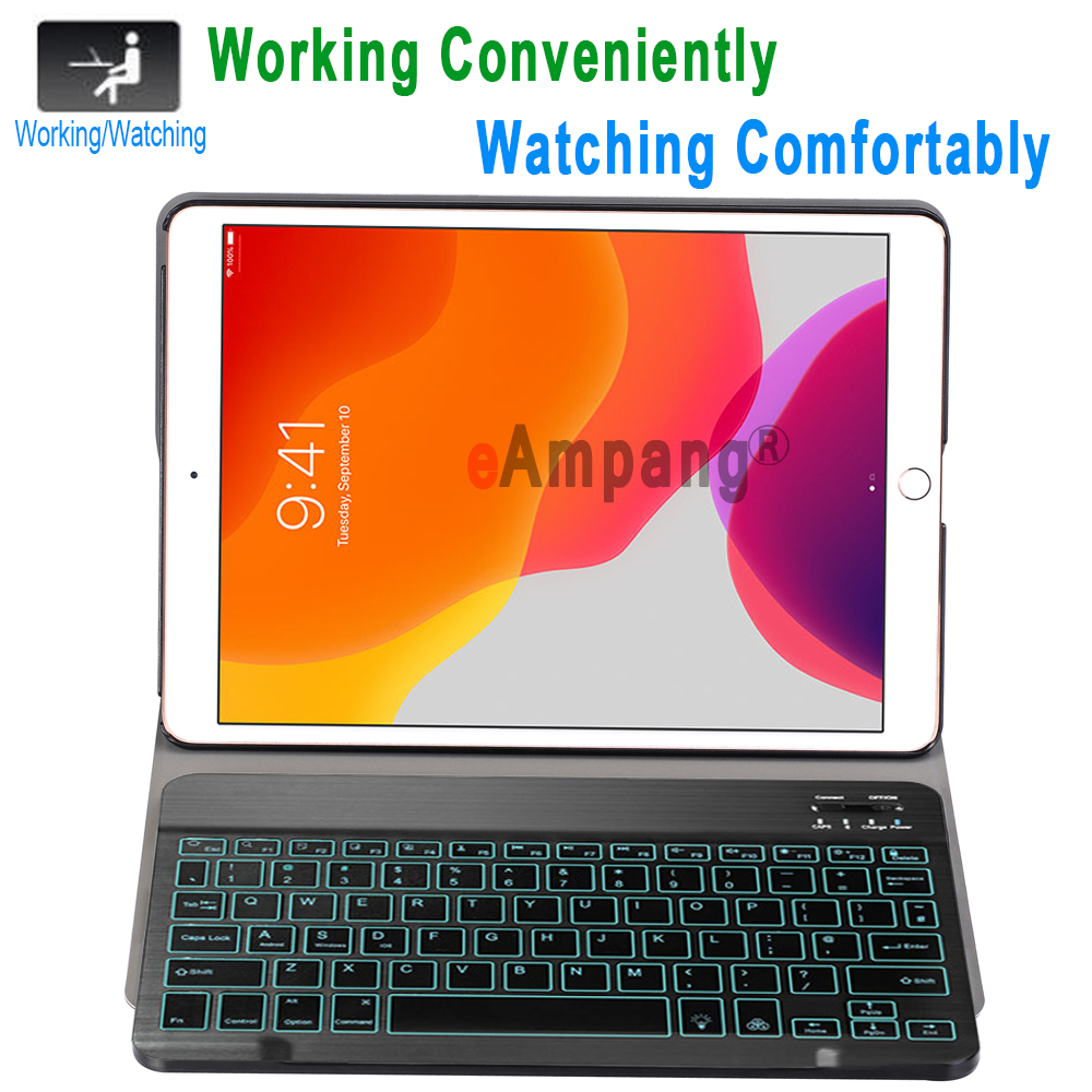 Case Apple Colors Keyboard 7 for 10.2 Backlit Bluetooth iPad 3.0 Keyboard for Case iPad