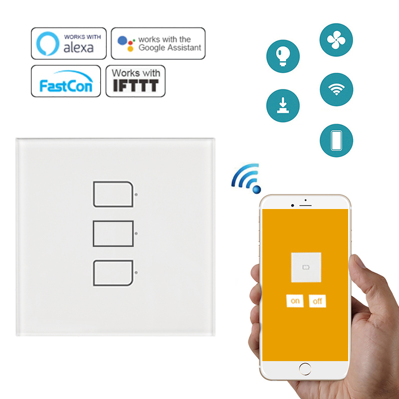 Broadlink Smart Touch Switch Light Switch Panel Wall Interruptor US/UK/EU 1/2/3 GangWifi Light Switch Work With AlexaGoogle Home
