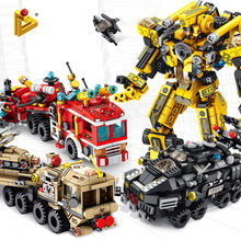 12 In 1 Transformation Engineering Vehicle Military Robot DIY Legoed Model Building Blocks Kit Education Puzzle Toys Kids Gifts(China)