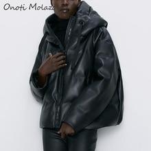 Onoti Molazo Women Coat Jackets PU Leather Casual Thick Winter Fashion Elegant L