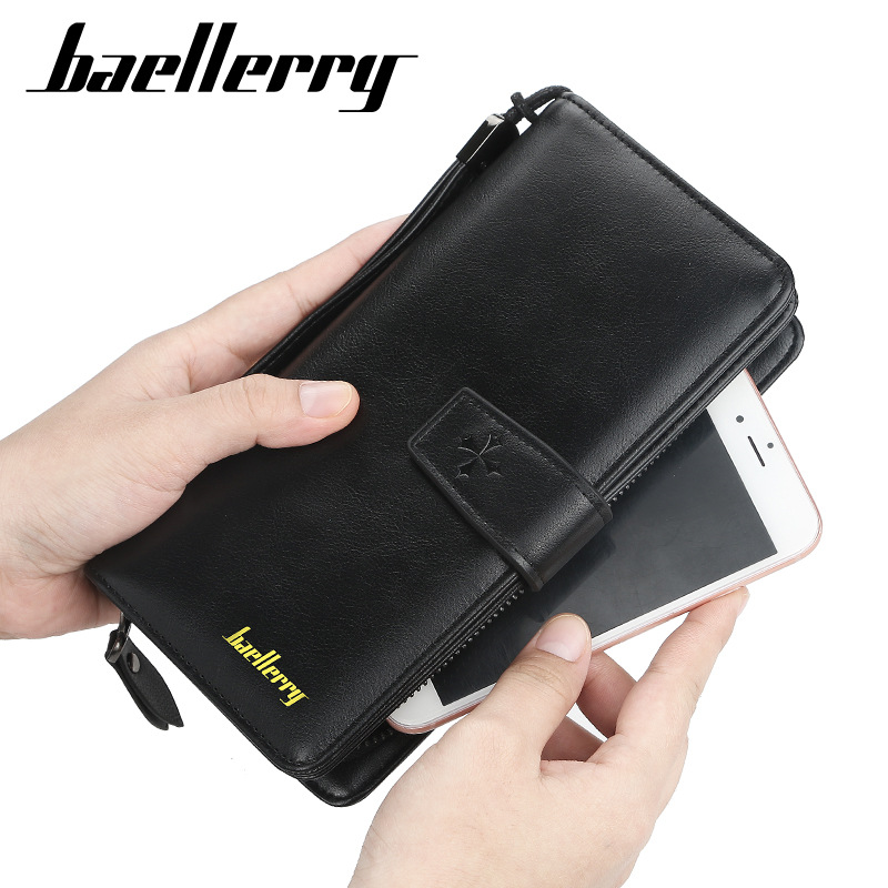 2020 Men Wallets Fashion Zipper Card Holder Long Style Male Purse High Quality New PU Leather Vintage Coin Holder Men Wallets