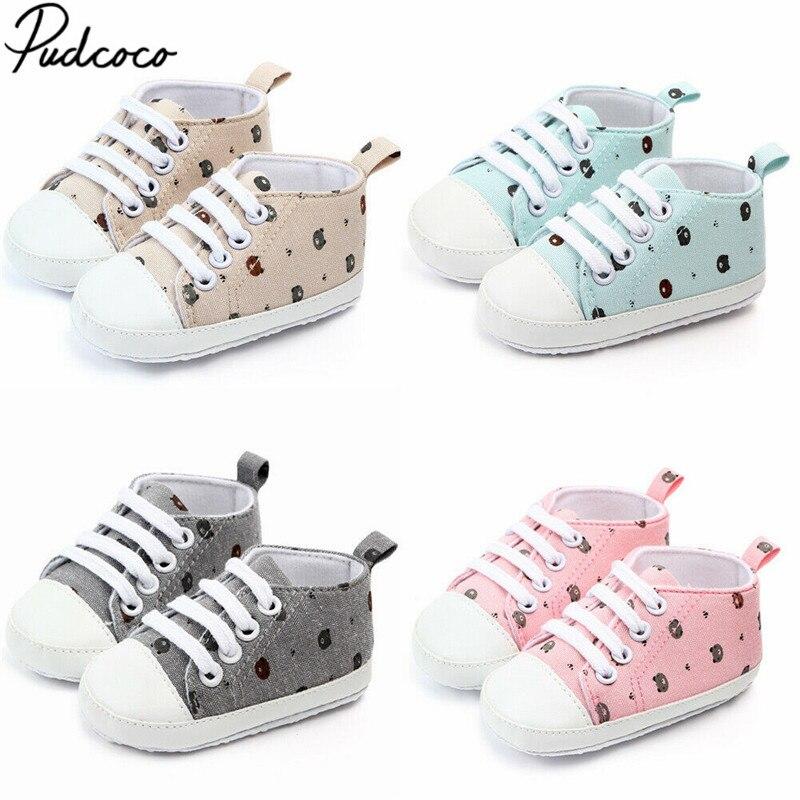 2019 Baby First Walkers Newborn Infant Baby Boy Girl Bear Printed Pram Shoes Soft Prewalker Anti-crip Sneaker Canvas Shoes 0-18M