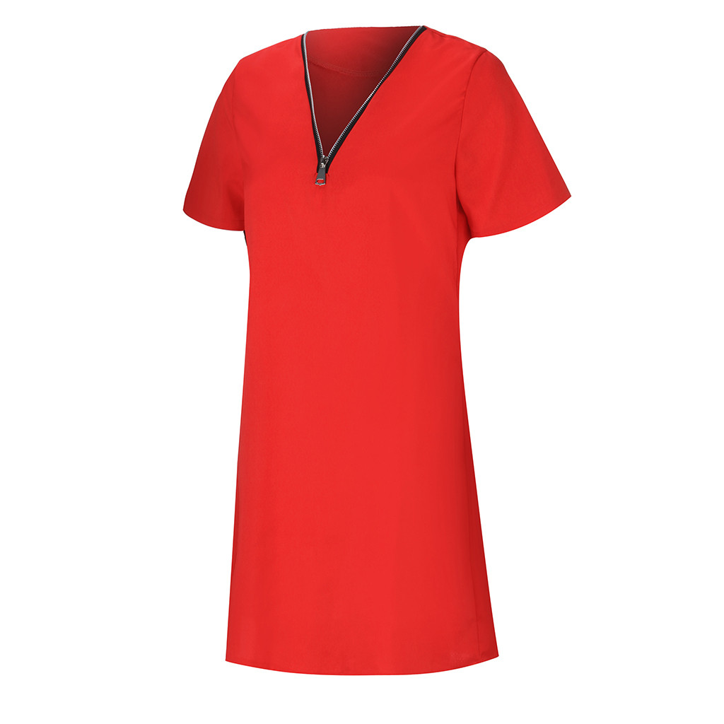 H048ccf1cd0574184b097f674a63f1b6a9 Summer Women's Clothing Ladies' Short Sleeve V-Neck Zipper Solid Color Dress Casual Comfortable Tops Dress For Home Dress #BL0