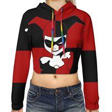 2020 yeni kız/kadın kısa Hoodie Harley Quinn açık göbek moda sokak moda Hoodie Harley Quinn rol oynamak giyim