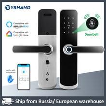 X6 Yrhand zamek elektroniczny wodoodporny biometryczny zamek linii papilarnych Bluetooth cyfrowy zamek do drzwi z klawiaturą TTlock App inteligentny zamek