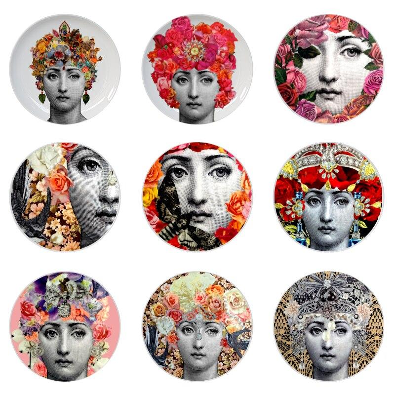 Fornasetti Subiu Placa de Fornasetti Lina Deusa Rosto Floral Prato Prato Redondo de Cerâmica para Decoração de Casa Rosto Humano Placa Pendurada