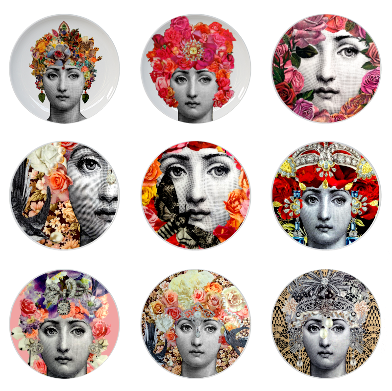 Fornasetti Rose Goddess Plate Fornasetti Lina Face Floral Dish Ceramic Round Plate For Home Decoration Human Face Hanging Plate