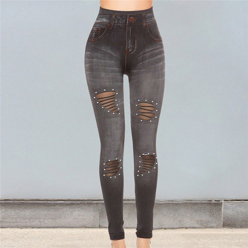 Women Fashion Jeans Ripped Denim Pants Broken Hole Slim Denim Pants Boyfriend Jeans Trousers Ladies Womens Casual Pencil Pant