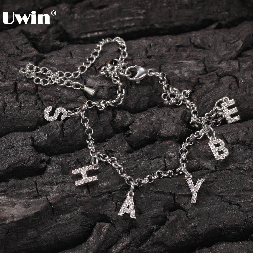Uwin Hiphop Jewelry Customized Letters Anklets with extension Chains DIY Initial Name for Women Girls Personalized Gift