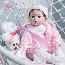 NPK новый дизайн 55 см Pinky Bebe кукла новорожденная девочка в розовом платье комплект с медведем высокое качество натуральный размер ребенок Рож...