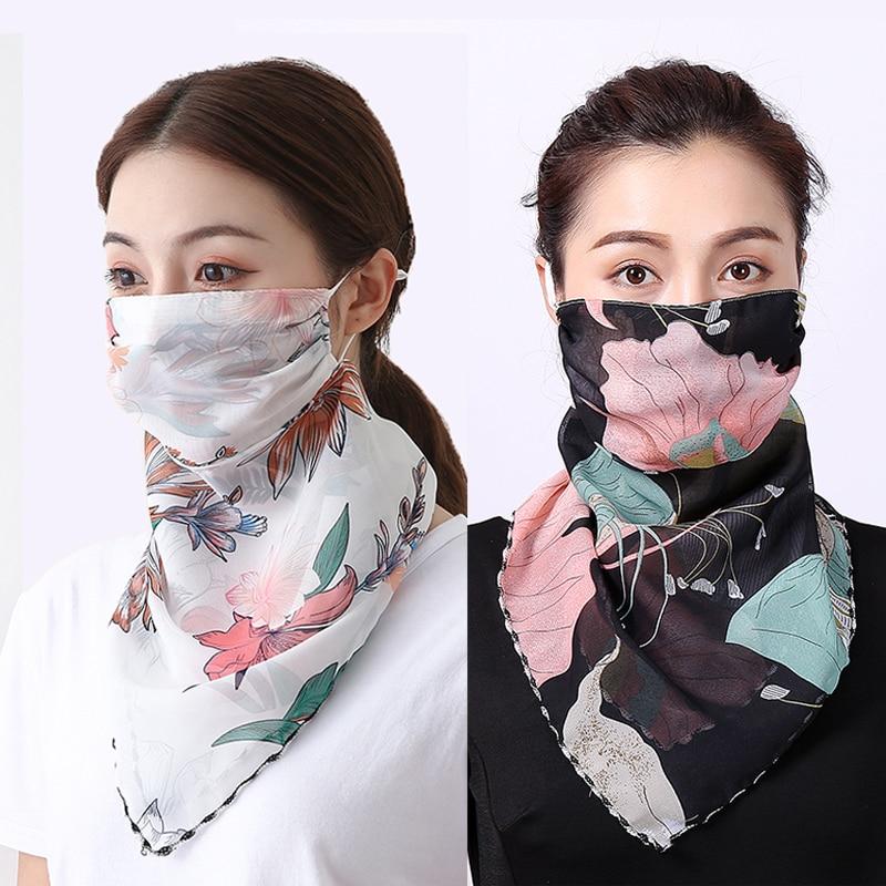 Women Chiffon Mask Scarf Face Mascarillas Wraps Floral Print Lady Silk Neck Scarves Foulard Bandana Reusable Masks Sun Protect