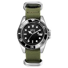 גברים של אנלוגי קוורץ שעון Canlander גברים שעון יד ניילון רצועת יוקרה מזדמן עסקי שעון ירוק
