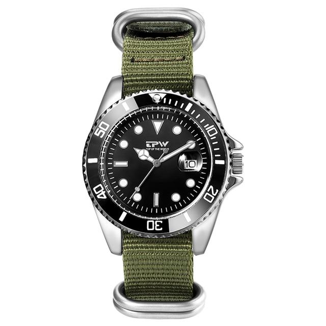 Homme analogique montre à Quartz Canlander hommes montre bracelet en Nylon luxe décontracté affaires horloge vert