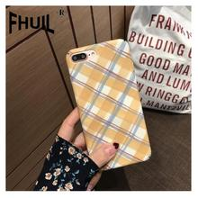 Phone Case For iPhone 6 6s 7 8 Plus X XR XS Max Fashion Simple grid pattern Retro Cases Frosted PC Cover