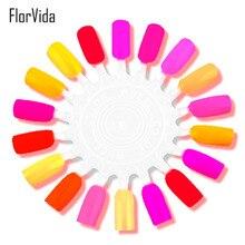 FlorVida 4 Colors 50pcs False Nail Art Tips Showing Shelf With Silver Ring 1 Sheet Disc Color Card Polish Display Tool