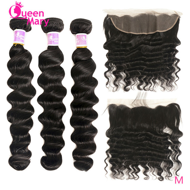 $ US $52.62 Brazilian Loose Deep Wave Bundles with Frontal Closure Middle Ratio100% Human Hair Bundles with Closure Non-Remy Queen Mary Hair