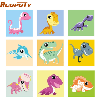 RUOPOTY 20x20cm Frame Animals DIY Painting By Numbers For Kids Image Paint By Numbers Hand Painted Unique Gift For Children Arts