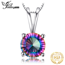 Concave Round Genuine Mystical Fire Rainbow Topaz Pendant Solid 925 Sterling Silver Hot Sale Promotion Vintage Jewelry For Women