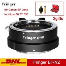 Fringer anillo adaptador de cámara de EF NZ, adaptador de lente AF de enfoque automático para objetivo Canon EF a Nikon Z6 Z7 Z50 EFS NZ Z