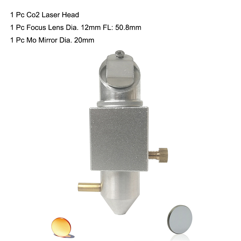 CO2 Laser Head Set For 2030 4060 K40 Laser Engraving Cutting Machine+ Mo Mirror 20mm + Si Znse Lens 12mm Focal LLength 50.8mm