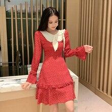 Kawaii Dress Long Sleeve New Peter pan Collar Ruffle Sweet Love Print Korean Women Red Vintage Elegant Vestidos Mujer 2019