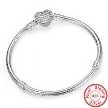 925 пробы Серебряный браслет-цепочка в виде змеи, безопасный браслет с застежкой в виде сердца и бусинами для женщин, сделай сам, изготовление ювелирных изделий