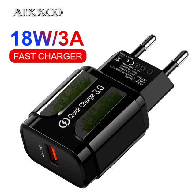 AIXXCO Quick Charge 3.0 QC 18W USB Charger QC3.0 Fast Charging USB Wall Phone Charger For Samsung