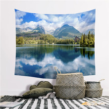 New Beautiful Scenery Wall Hanging Tapestry Nature Forest Waterfall Hd Beach Towel Mural Polyester Carpet цена 2017